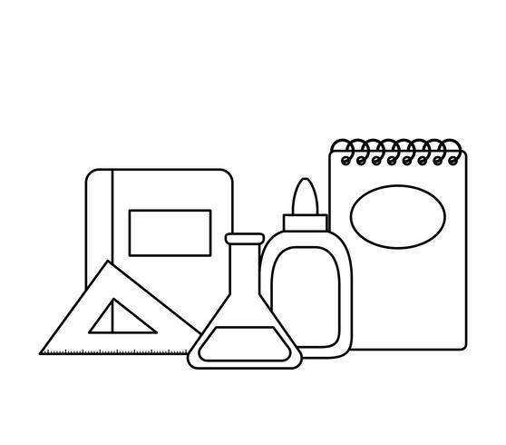 test du tube avec fournitures scolaires vecteur