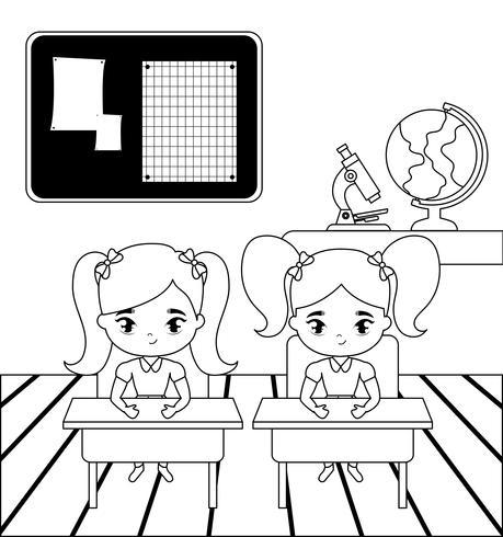 petites filles étudiantes dans la scène de la classe vecteur