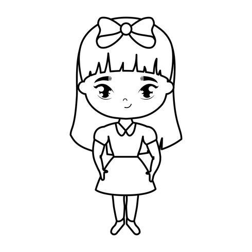 personnage d'avatar mignon petite fille étudiante vecteur