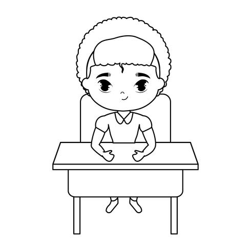 petit garçon étudiant assis au banc d'école vecteur