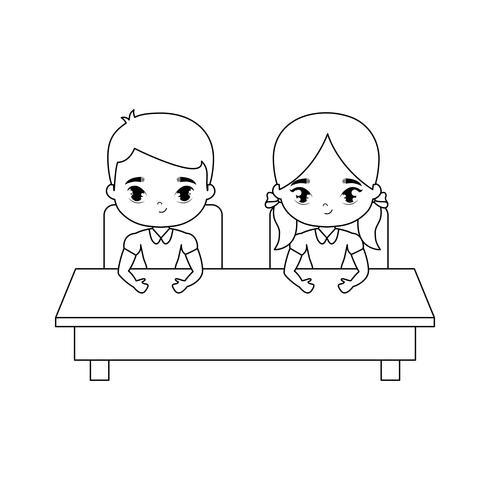 petits étudiants assis dans le bureau de l'école vecteur