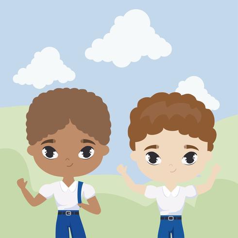 mignons petits étudiants dans la scène de paysage vecteur