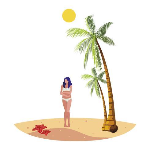 jeune femme sur la scène d'été de la plage vecteur