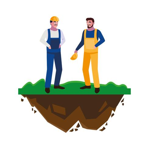 constructeurs masculins constructeurs ouvriers sur la pelouse vecteur