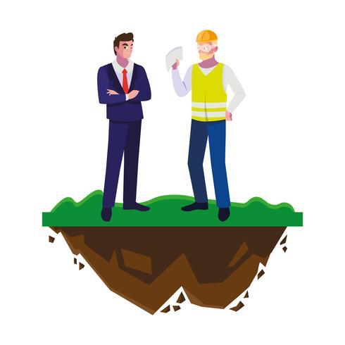 constructeur constructeur avec ingénieur sur la pelouse vecteur