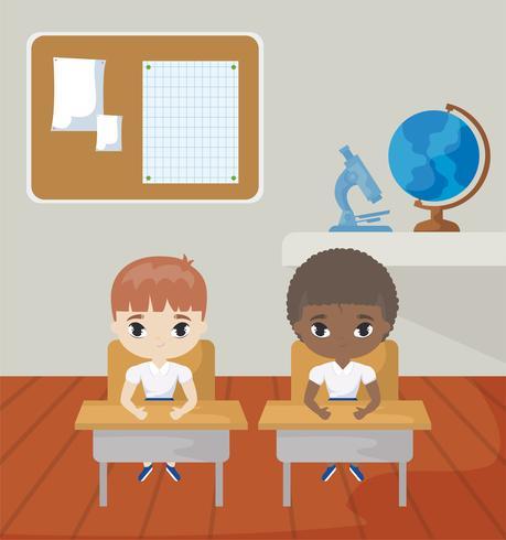 petits étudiants dans la scène de la classe vecteur