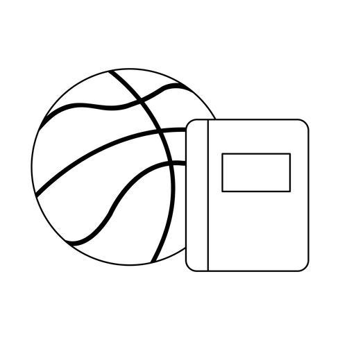 école de manuels scolaires avec ballon de basket vecteur