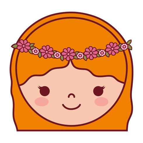 icône de visage de femme dessin animé vecteur