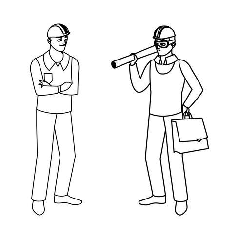 constructeur mâle constructeur avec le chef architecte vecteur
