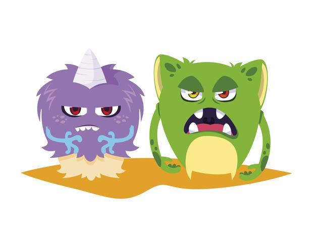 monstres rigolos quelques personnages comiques colorés vecteur