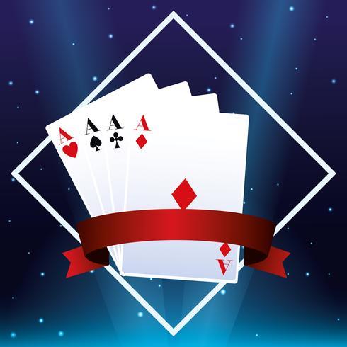 Emblème de cartes de casino vecteur