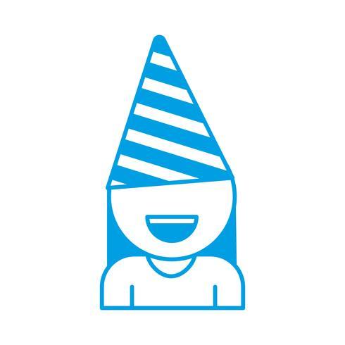fille avec icône de chapeau de fête vecteur