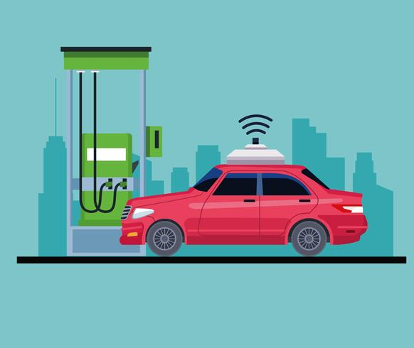 voiture dans une icône de station d'essence vecteur
