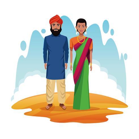 couple indien de dessin animé de l'Inde vecteur