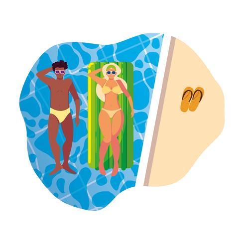 couple interracial avec matelas flottant dans l'eau vecteur