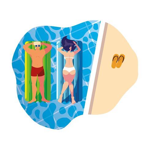 jeune couple avec matelas flottant dans la piscine vecteur