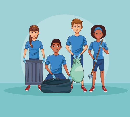 Bénévoles de nettoyage de parc vecteur