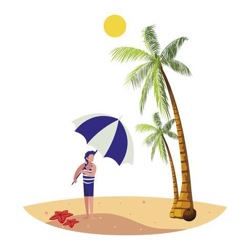 jeune garçon sur la scène d'été de la plage vecteur