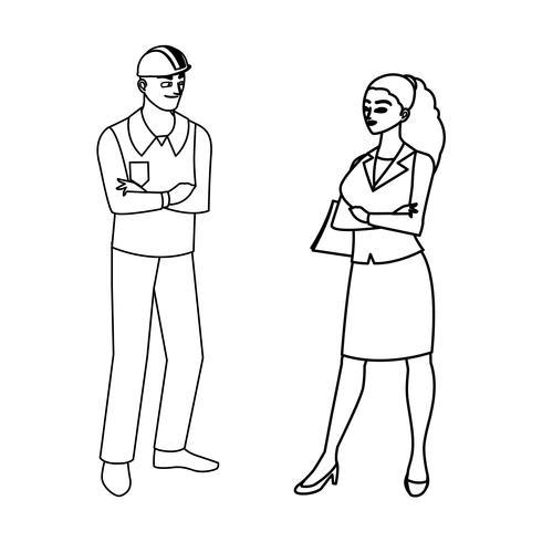 constructeur mâle constructeur avec femme ingénieur vecteur