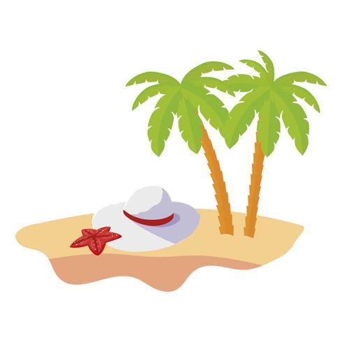 scène de plage d'été avec palmiers et chapeau féminin vecteur