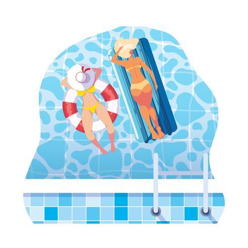 filles avec maillot de bain en maître nageur et matelas flotte dans l'eau vecteur
