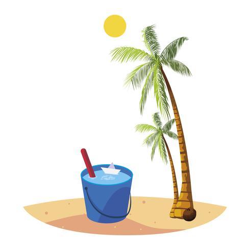 plage d'été avec des palmiers et une scène de seau d'eau vecteur