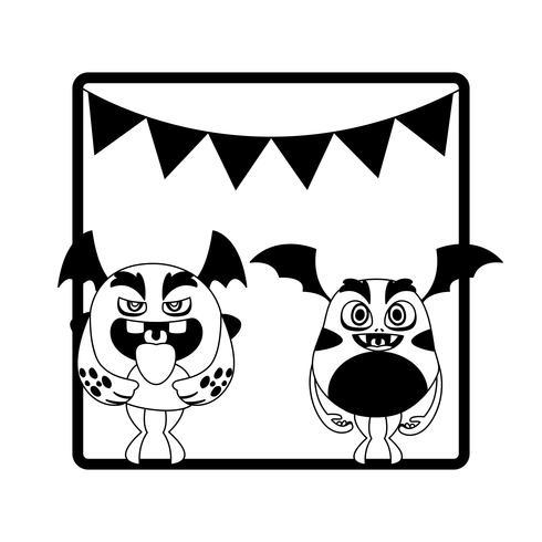 cadre monochrome avec monstres et guirlandes suspendus vecteur