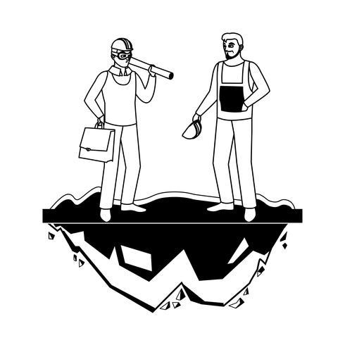 ouvrier constructeur constructeur mâle avec patron architecte vecteur