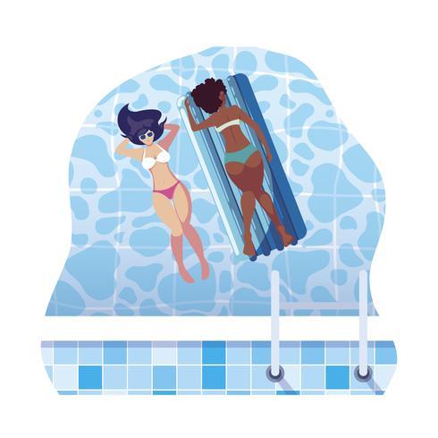 belles filles interraciales avec matelas de flotteur dans l'eau vecteur