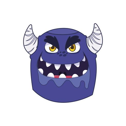 personnage drôle de monstre avec cornes vecteur