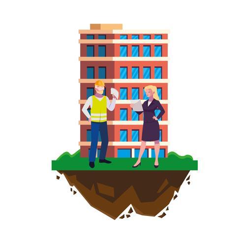 constructeur mâle constructeur avec femme ingénieur et bâtiment vecteur