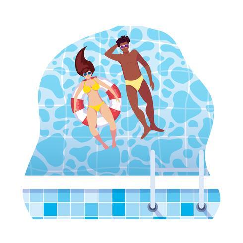 couple interracial avec maillot de bain et flotte dans l'eau vecteur