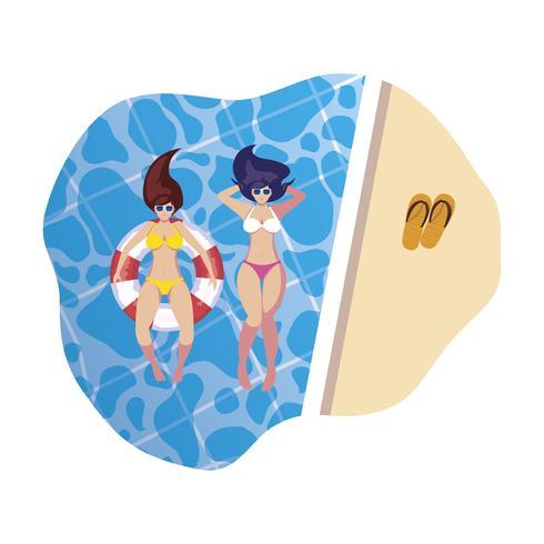 filles avec maillot de bain et maître nageur flottent dans l'eau vecteur