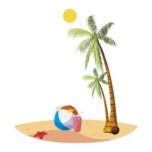 plage d'été avec palmiers et scène de jouet ballon vecteur