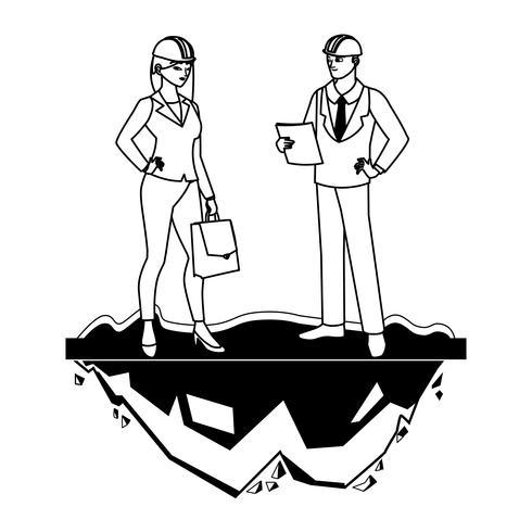 couple d'ingénieurs ouvriers caractères vecteur