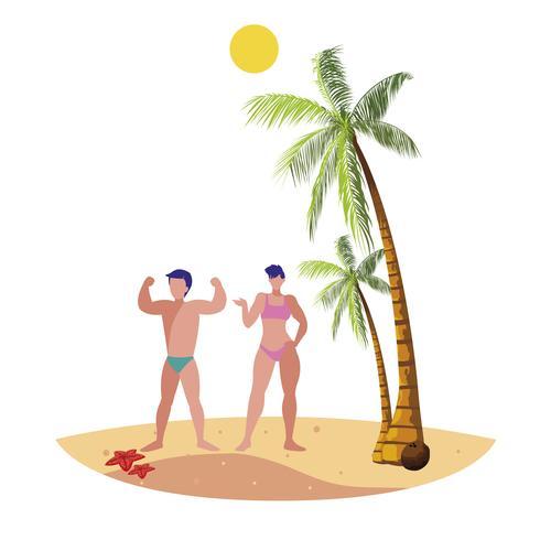 jeune couple sur la scène d'été de la plage vecteur