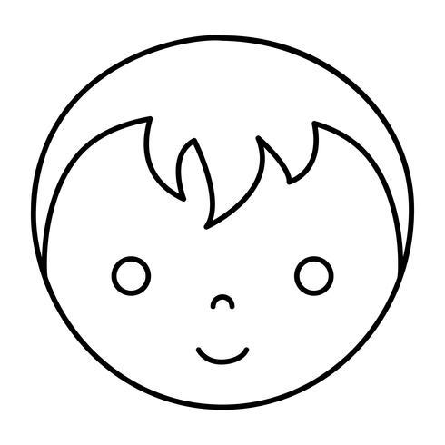 icône de visage de garçon de dessin animé vecteur