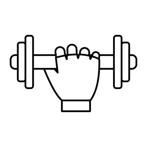 main avec icône haltères vecteur