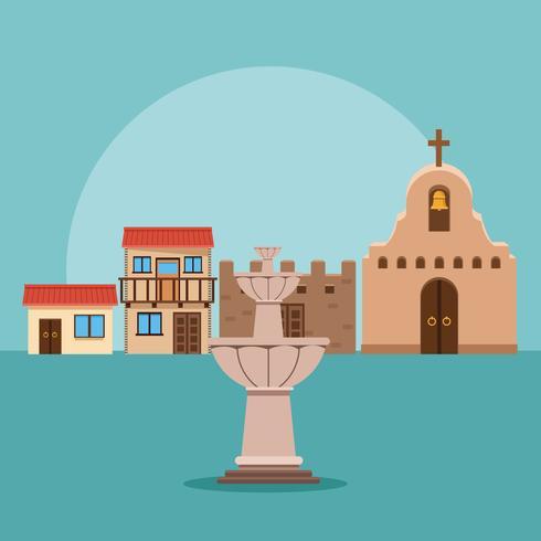 Paysage de la ville mexicaine vecteur