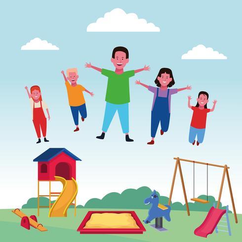 les enfants à l'aire de jeux vecteur