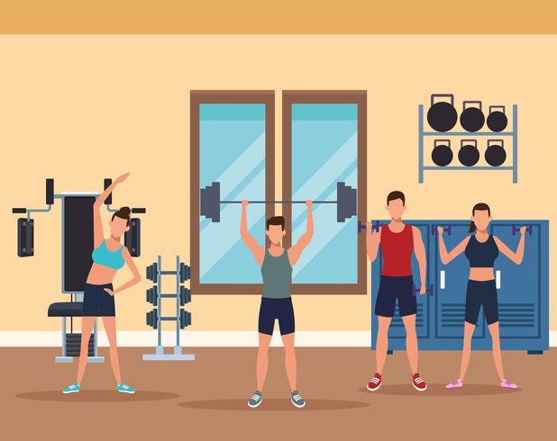 fitness pour hommes faire de l'exercice vecteur