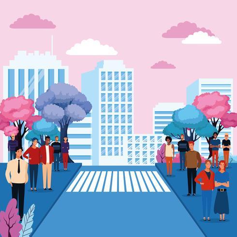Les gens dans le parc de la ville vecteur