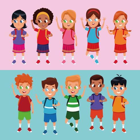 Dessins animés des écoliers et des filles vecteur