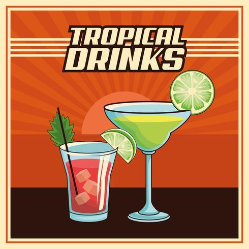 affiche cocktail tropical vecteur