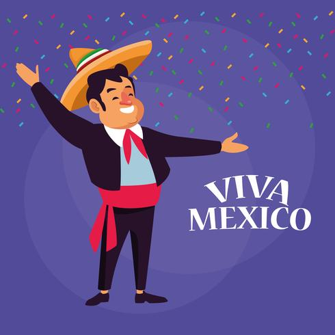 Dessins animés Viva mexico vecteur