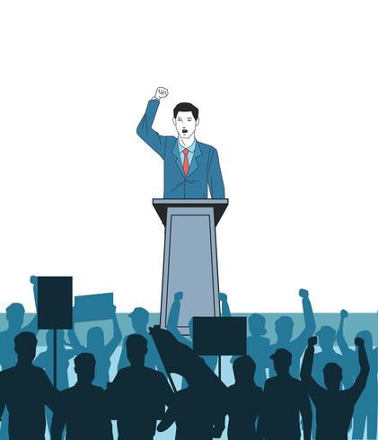 homme faisant un discours et silhouette du public vecteur