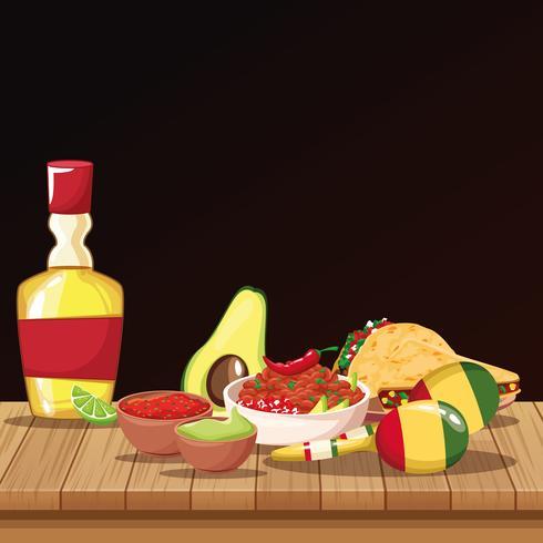 Dessins alimentaires mexicains vecteur