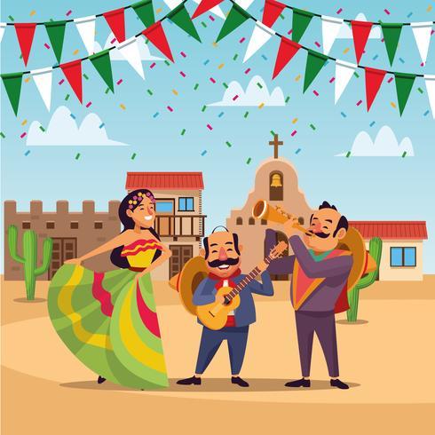 Caricature mexicaine de cinco de mayo vecteur