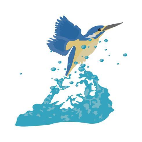 Belle illustration vectorielle de Martin-pêcheur volant vecteur
