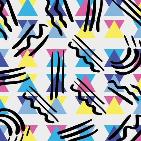 style memphis avec dessin géométrique en couleur vecteur